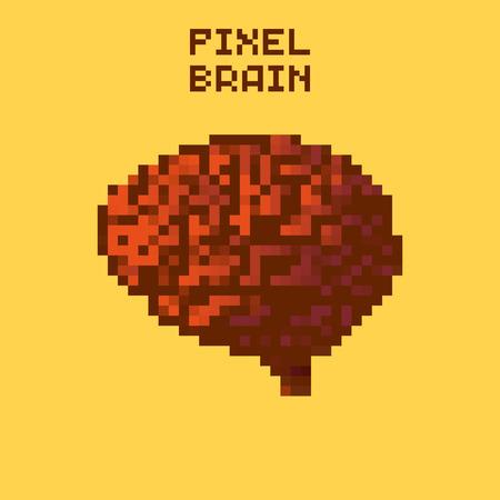 game icon: Pixel human brain, pixelated illustration. - Stock vector