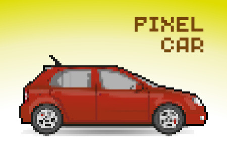 Red pixel car, pixelated illustration. - Stock vector
