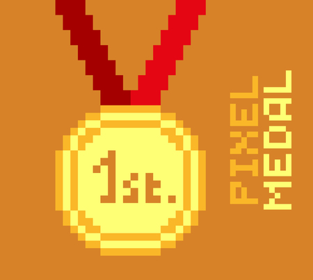Golden pixel medal, 1st place, pixelated illustration. - Stock vector