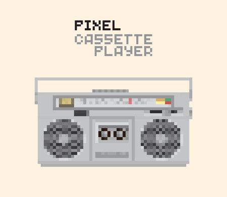 hifi: Pixel Magnetic cassette stereo Hi-Fi player, pixelated illustration. - Stock vector