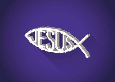 pez cristiano: 3D isométrico pixelada símbolo cristiano de los pescados (Jesús) en un diseño plano, ilustración Vectores