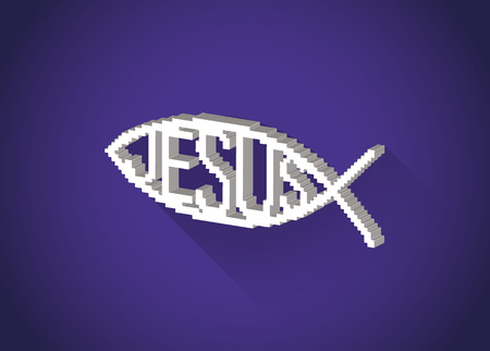 pez cristiano: 3D isom�trico pixelada s�mbolo cristiano de los pescados (Jes�s) en un dise�o plano, ilustraci�n Vectores