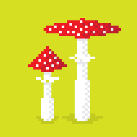 amanita: Couple of pixel poisonous mushroom, illustration, pixel art design. Editable vector