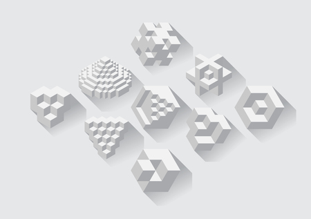 disorganization: Set of cubic objects, useful for corporate or science . Vector