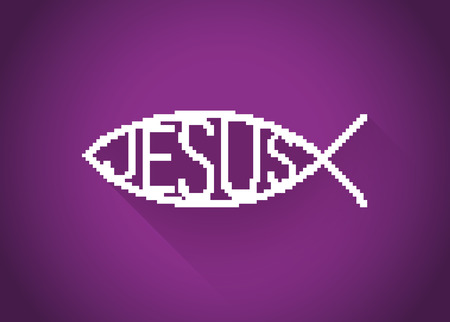 icthus: Pixelated christian fish symbol (jesus) in a flat design, illustration
