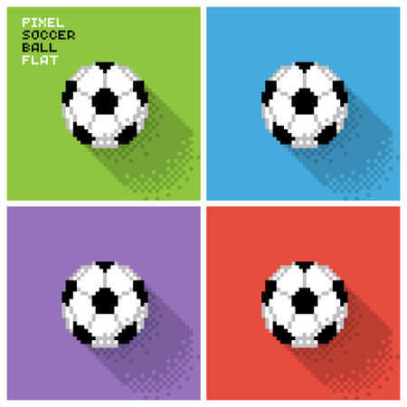 Set of pixel soccer balls in a flat design, pixelated illustration. - Stock vector