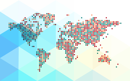 Abstract dotted world map on a polygonal background. Editable vector Фото со стока - 61850156