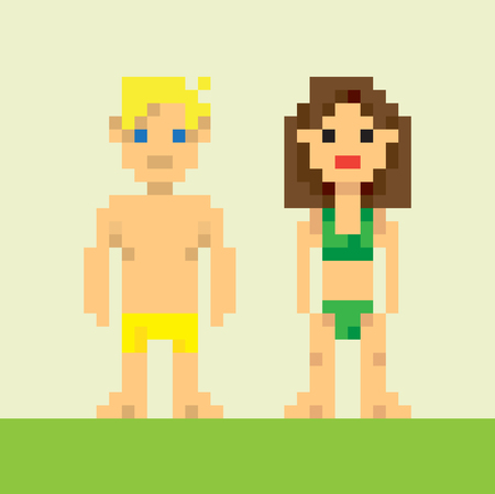 Pixel girl and pixel boy in a swimsuit, flat design. Editable vector illustration