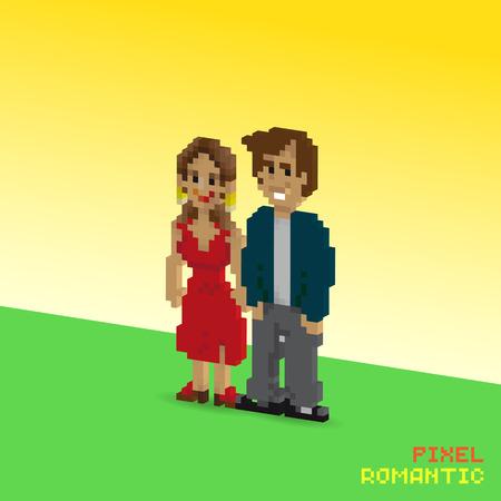 3d Pixel romantic couple, pixelated illustration. - Stock vector Фото со стока - 61850160