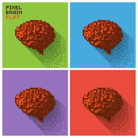 Set of pixel human brain in a flat design, pixelated illustration. - Stock vector