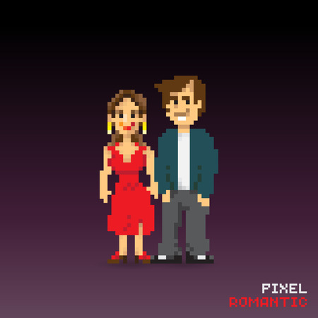 Pixel romantic couple, pixelated illustration. - Stock vector Фото со стока - 61847505