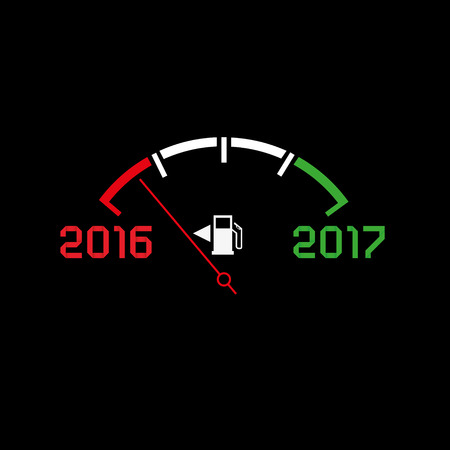 winter car: 2017 New year comming dark theme, abstract illustration. Editable vector