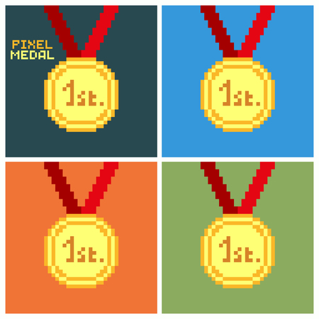 Set of golden pixel medal, 1st place, pixelated illustration. - Stock vector