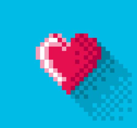 Pixel Heart in flat design, pixel art illustration. - Editable vector Фото со стока - 61847526