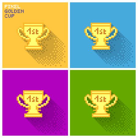 stock image: Set of pixel golden cup, flat pixelized illustration - stock image