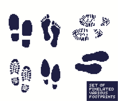 Set of pixel footprints, shoes and boot, pixelated illustration. - Stock vector Иллюстрация