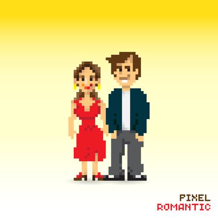 affair: Pixel romantic couple, pixelated illustration. - Stock vector