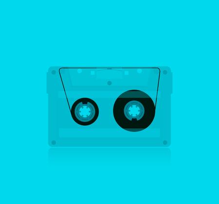 Classic transparent MC Cassette, illustration. Stock vector