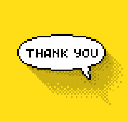 8 bit: Text bubble with thank you phase, flat pixelated illustration. - Stock vector