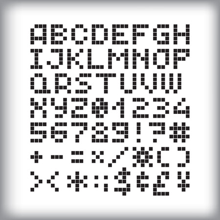 pixelart: Pixel font in 4x5 pixel grid, numbers and letters. - Stock vector