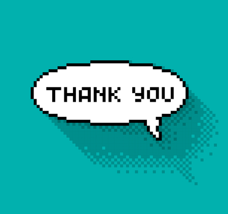 thankyou: Text bubble with thank you phase, flat pixelated illustration. - Stock vector