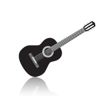 Acoustic black guitar, isolated musical instrument with reflection illustration Фото со стока - 64880051