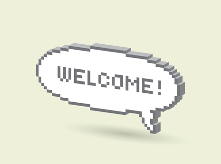 3d Bubble greeting with Welcome! pixel illustration