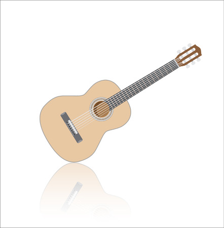 Acoustig guitar, isolated musical instrument with reflection
