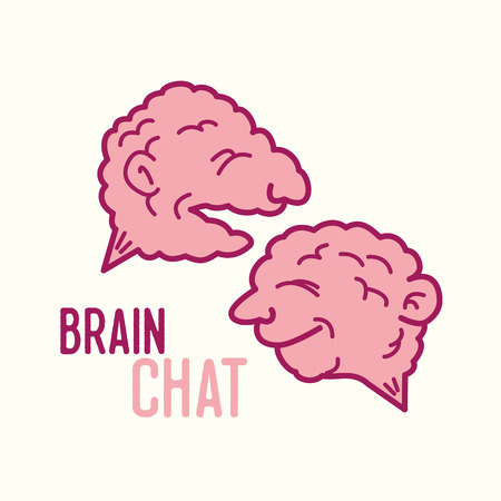 Two brains as text bubble illustration Фото со стока - 64880188