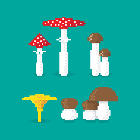 Various pixel Mushroom, set of, edible and poisonous Иллюстрация