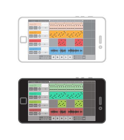 record office: Digital audio workstation (DAW) in smartphone, flat design.