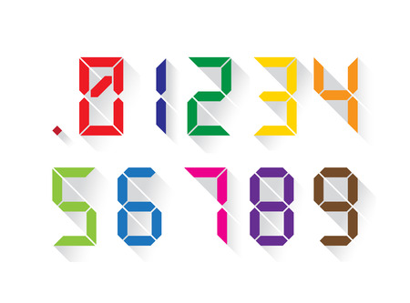 Set of digital colorful numbers in a flat design, each digit separately. Vector Illustration