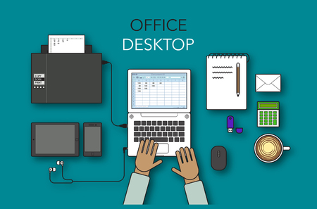 stock vector modern creative office desktop in flat design, workspace Фото со стока - 69467248