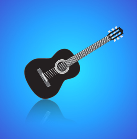 Acoustig black guitar, isolated musical instrument with reflection on a blue background. Vector illustration