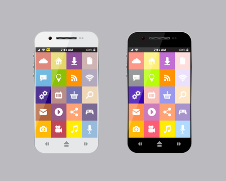 smartphone apps: Black and white smartphone with apps, flat design, stock vector Illustration