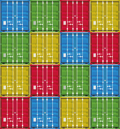 Set of cargo containers from a front side, editable stock vector Illustration