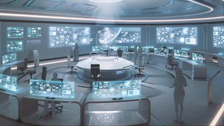 3D rendered modern, futuristic command center interior with people silhouettes Фото со стока
