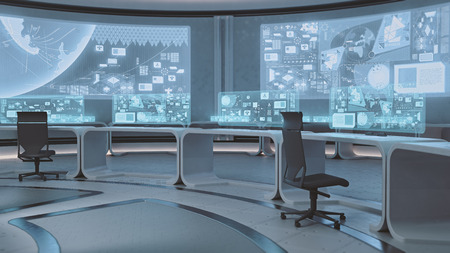 3D rendered empty, modern, futuristic interior command center Stock Photo