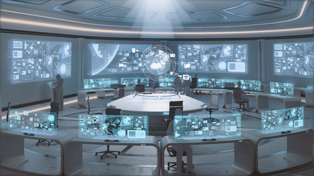 3D rendered modern, futuristic command center interior with people silhouettes 스톡 콘텐츠