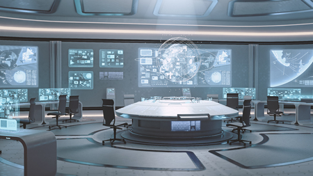 3D rendered empty, modern, futuristic interior command center Banco de Imagens