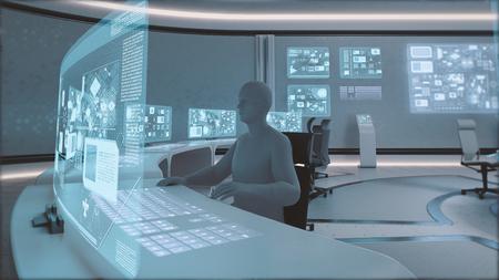 3D는 사람들이 실루엣과 현대, 미래 지향적 명령 센터 간 렌더링