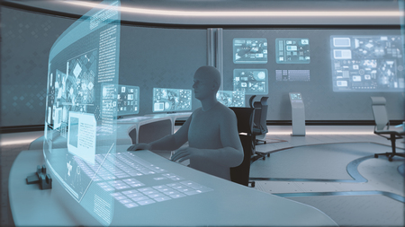 3D rendered modern, futuristic command center interior with people silhouettes Stock Photo
