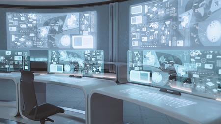 3D rendered empty, modern, futuristic interior command center Archivio Fotografico