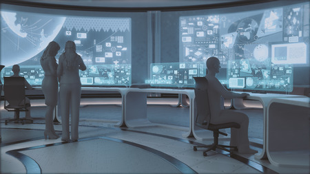 control centre: 3D rendered modern, futuristic command center interior with people silhouettes Stock Photo