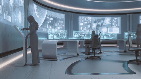 futuristic interior: 3D rendered modern, futuristic command center interior with people silhouettes Stock Photo