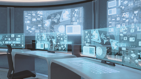 design office: 3D rendered empty, modern, futuristic interior command center Stock Photo
