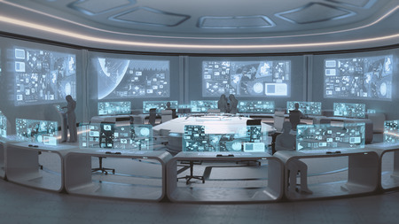 3D rendered modern, futuristic command center interior with people silhouettes Foto de archivo