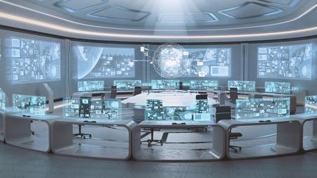 spaceship: 3D rendered empty, modern, futuristic interior command center Stock Photo