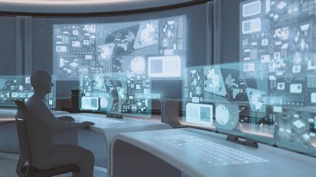 3D prestados moderna, centro de mando interior futurista con siluetas de personas