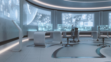 3D rendered empty, modern, futuristic interior command center Archivio Fotografico